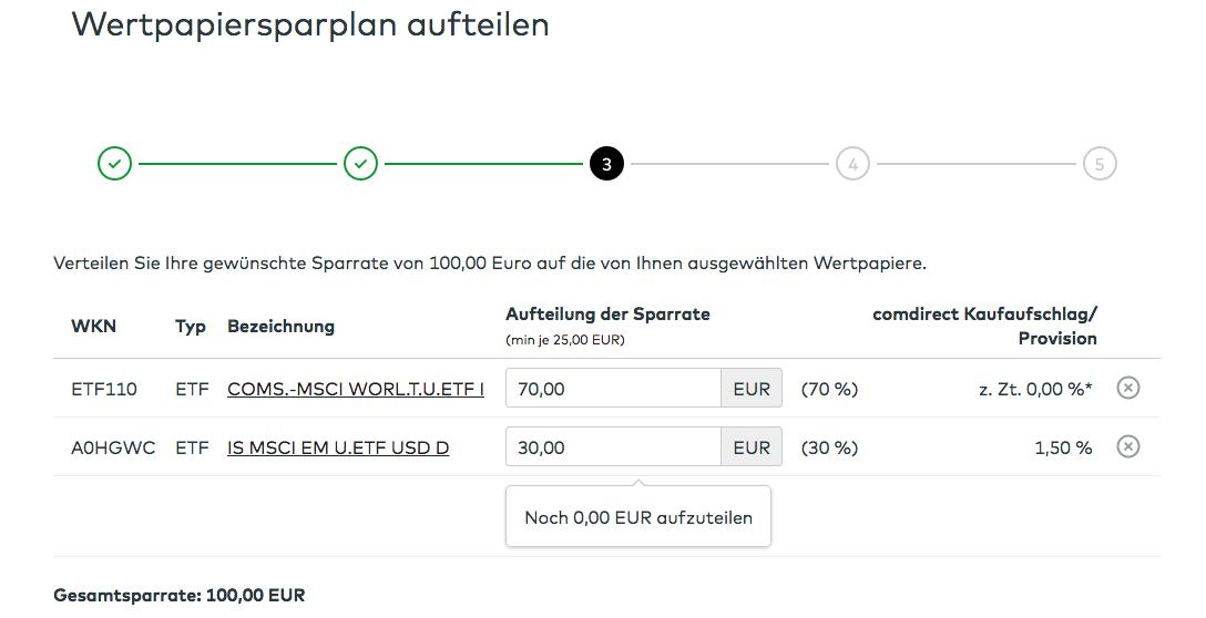 ETF-Sparplan bei der Comdirect