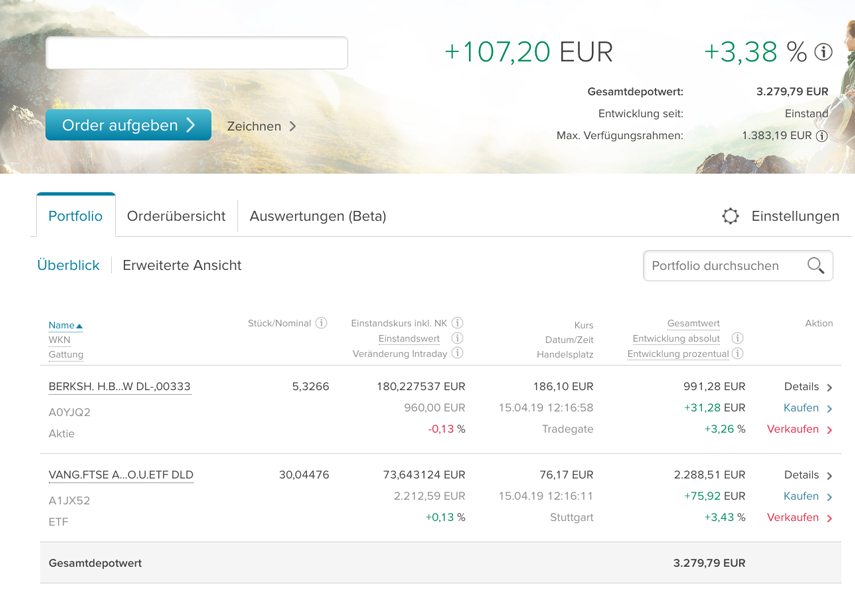 ETF Sparplan - April 2019 bei der Consors