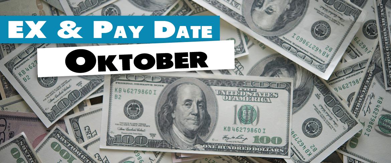 Ex Date und Pay-Date Dividenden Aktien im Oktober